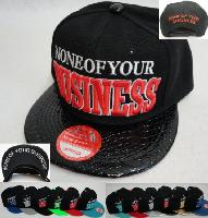 Snap Back Flat Bill Hat [NONE OF YOUR BUSINESS] Textured Bill